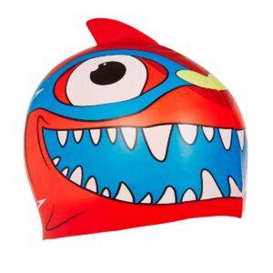 CUFFIA SILICONE SEASQUAD CHARACTER CAP SPEEDO BAMBINO colore… ADATTA A BAMBINI DA 2 A 6 ANNI a forma di squalo con pinna 3d