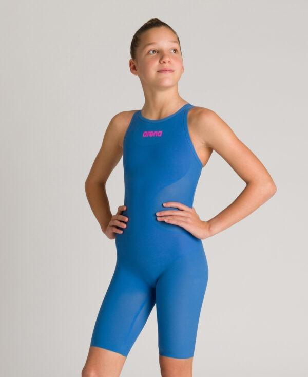 costume competizione bambina arena r-evo one azzurro vestibilità posteriore aperta