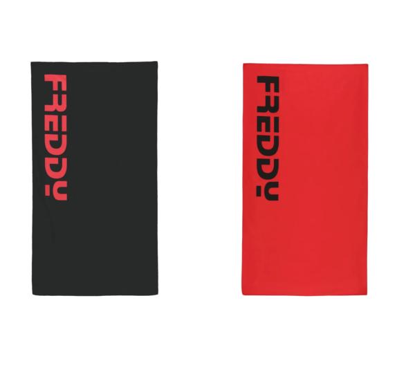 asciugamano in microfibra con logo Freddy con elastico per chiudere 70x130